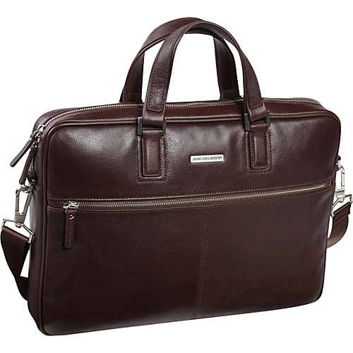 Buy best computer cases - Johnston & Murphy Slim Zip Top Laptop Briefcase Chocolate - Johnston & Murphy Non-Wheeled Computer Cases