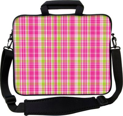 Designer Sleeves 13 inch Executive Laptop Sleeve by Got Skins? & Designer Sleeves Pink & Green Plaid - Designer Sleeves Electronic Cases