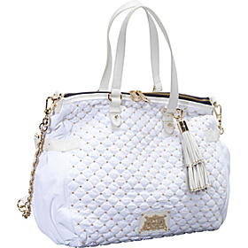 Upscale Quilted Nylon Lauryn Convertible Satchel White
