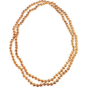 Endless 54 Inch Gold Hand Knotted Glass Pearl Necklace Gold