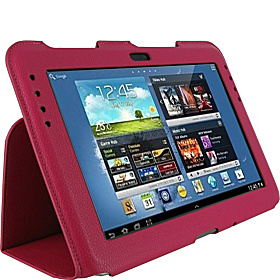 Samsung GALAXY Note 10.1 N8000 Tablet: Ultra-Slim Vegan Leather Case Magenta