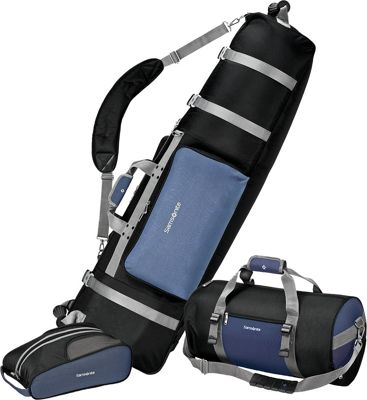 Samsonite Golf Travel Deluxe 3 Piece Golf Travel Set Blue/Black - Samsonite Golf Travel Golf Bags