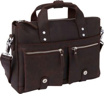 Vagabond Traveler 15 inch TREKKER CLassic Leather Brief Dark Brown - Vagabond Traveler Non-Wheeled Business Cases