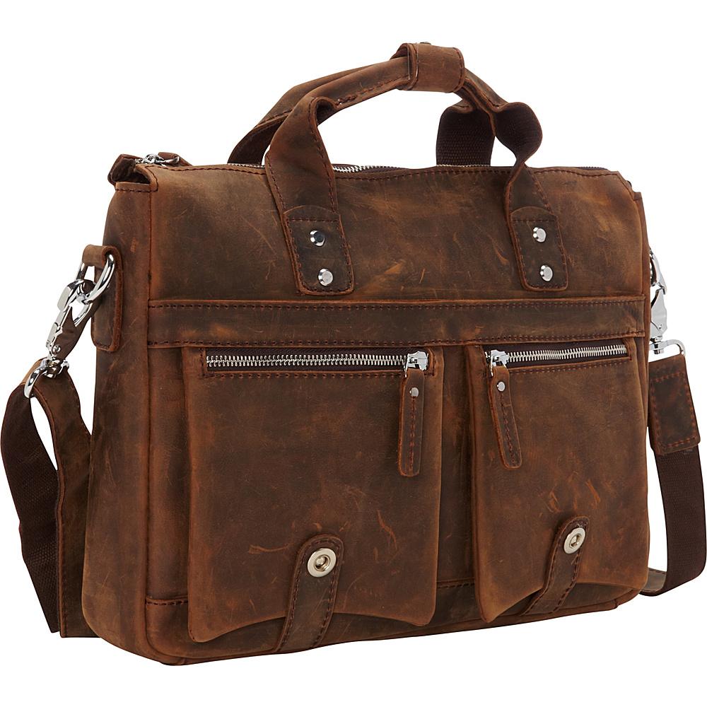 Vagabond Traveler 15 TREKKER CLassic Leather Brief Vintage Brown - Vagabond Traveler Non-Wheeled Business Cases - Work Bags & Briefcases, Non-Wheeled Business Cases