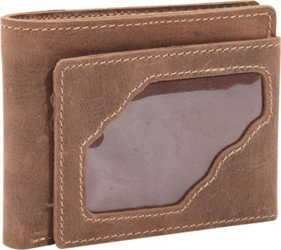 Vagabond Traveler WANDERER Classic Leather Bifold Wallet w/ ID Window Vintage Brown - Vagabond Traveler Men's Wallets