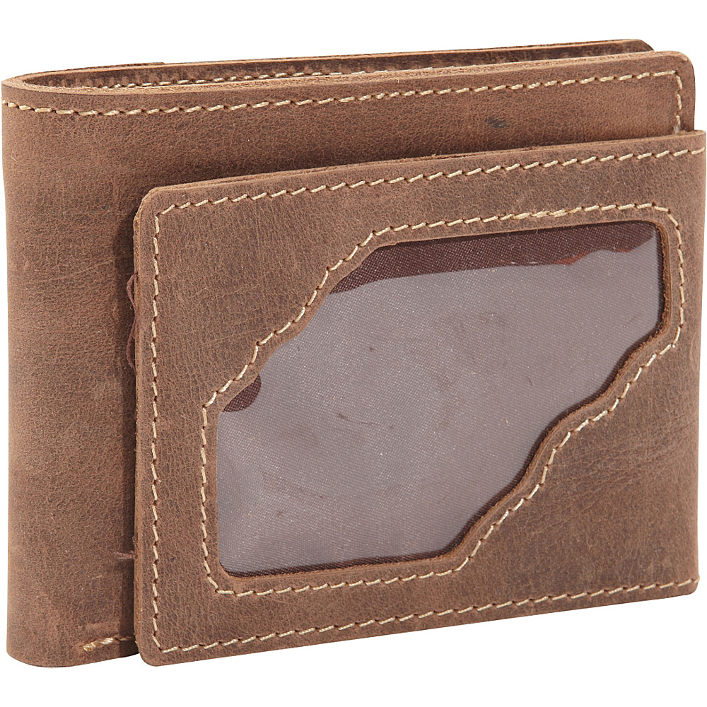 Vagabond Traveler WANDERER Classic Leather Bifold Wallet w ID Window Vintage Brown Vagabond Traveler Men s Wallets