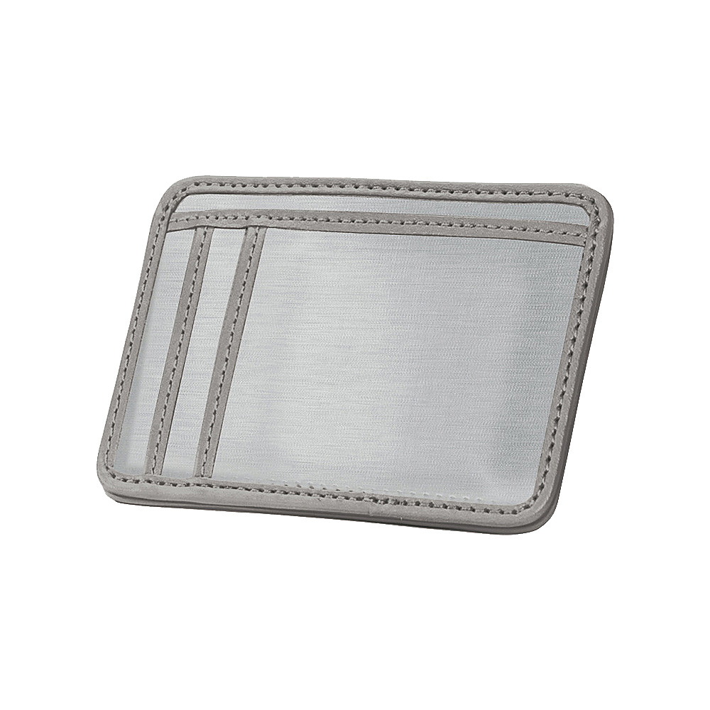 Stewart Stand RFID Blocking 3 Slot Stainless Steel Wallet w ID Leather Accent Grey Leather Stewart Stand Men s Wallets