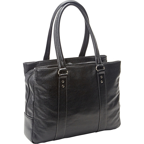 eBags Laptop Collection Soho Triple Zip Leather Laptop Tote Black - eBags Laptop Collection Ladies' Business