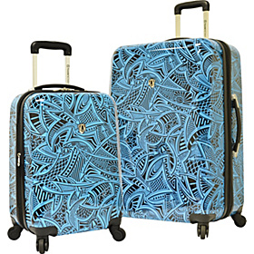 Tribal 2-Piece Hardside Expandable Luggage Set Blue Tribal
