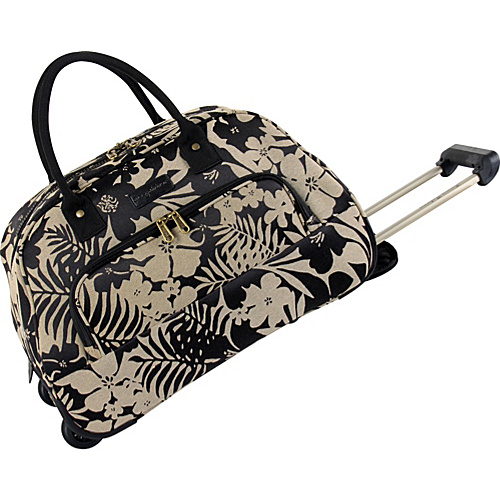 Tommy Bahama Luggage Gem Rolling Bowler Black/Tan - Tommy Bahama Luggage Travel Duffels