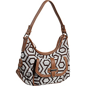 Hexagon 9s Jacquard Small Hobo Khaki/Cognac