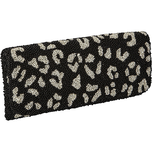 Moyna Handbags Beaded Evening Clutch Leopard Print Black/Silver - Moyna Handbags Evening Bags