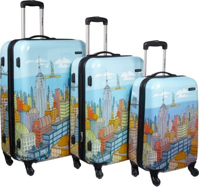Samsonite Samsonite CityScapes 3 Piece Spinner Set Blue Print - Samsonite Luggage Sets