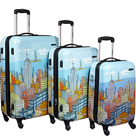 CityScapes 3 Piece Spinner Set Blue Print