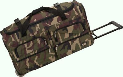 Rockland Luggage Voyage 2 30 inch Rolling Duffel Camouflage Green - Rockland Luggage Softside Checked