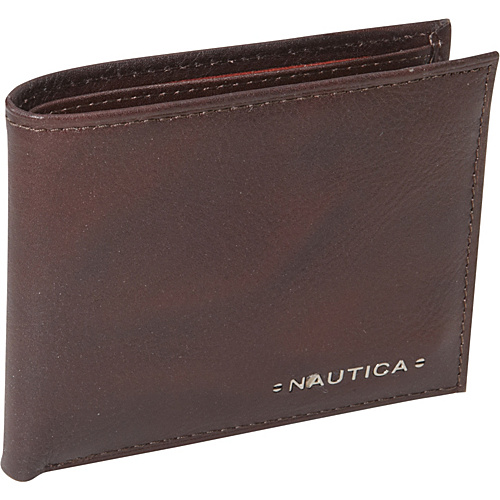 Nautica Mens Wallets Downhaul Passcase Wallet Brown - Nautica Mens Wallets Mens Wallets