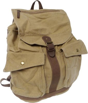 Vagabond Traveler Classic Style Canvas Backpack Khaki - Vagabond Traveler Everyday Backpacks