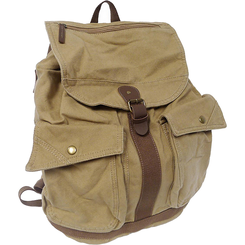 Vagabond Traveler Classic Style Canvas Backpack Khaki - Vagabond Traveler Everyday Backpacks - Backpacks, Everyday Backpacks