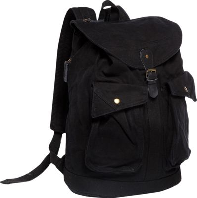Vagabond Traveler Classic Style Canvas Backpack Black - Vagabond Traveler Everyday Backpacks