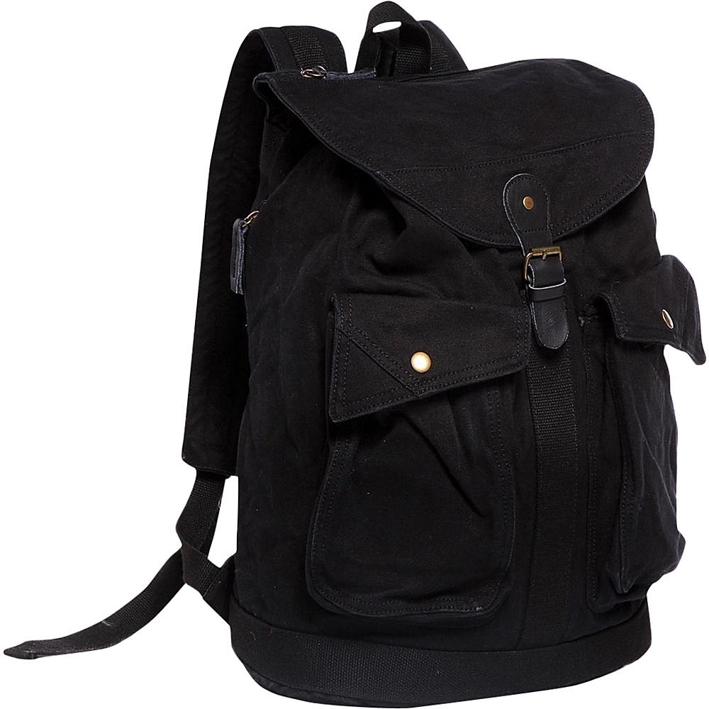 Vagabond Traveler Classic Style Canvas Backpack Black Vagabond Traveler Everyday Backpacks