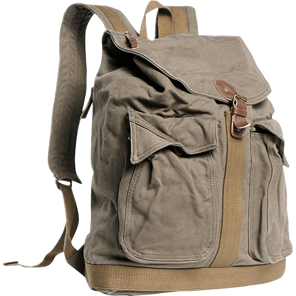 Vagabond Traveler Classic Style Canvas Backpack Military Green - Vagabond Traveler Everyday Backpacks - Backpacks, Everyday Backpacks