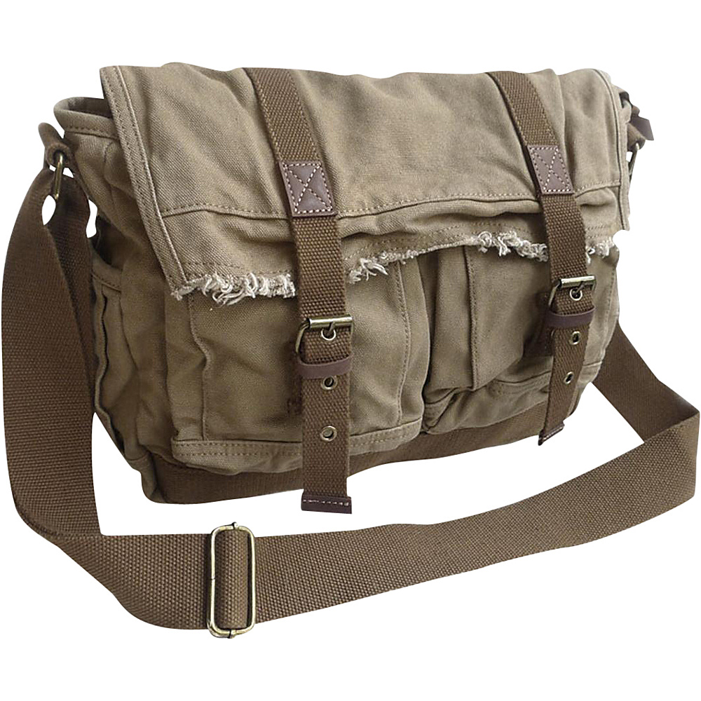 Vagabond Traveler Vintage Style Large Canvas Messenger Bag Khaki Vagabond Traveler Messenger Bags