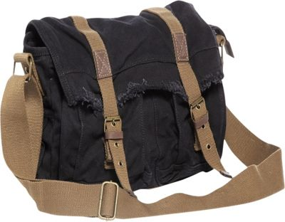 Vagabond Traveler Vintage Style Large Canvas Messenger Bag Black - Vagabond Traveler Messenger Bags