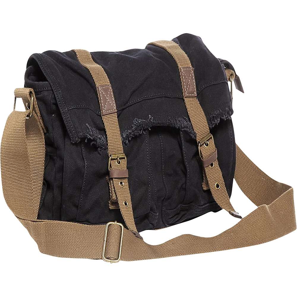 Vagabond Traveler Vintage Style Large Canvas Messenger Bag Black Vagabond Traveler Messenger Bags