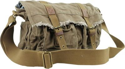 Vagabond Traveler Vintage Style Large Canvas Messenger Bag Military Green - Vagabond Traveler Messenger Bags