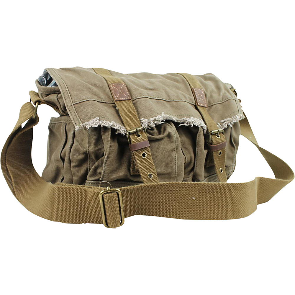 Vagabond Traveler Vintage Style Large Canvas Messenger Bag Military Green Vagabond Traveler Messenger Bags