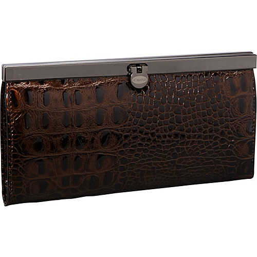 R & R Collections Croco Top Frame Ladies Wallet BROWN - R & R Collections Ladies Small Wallets