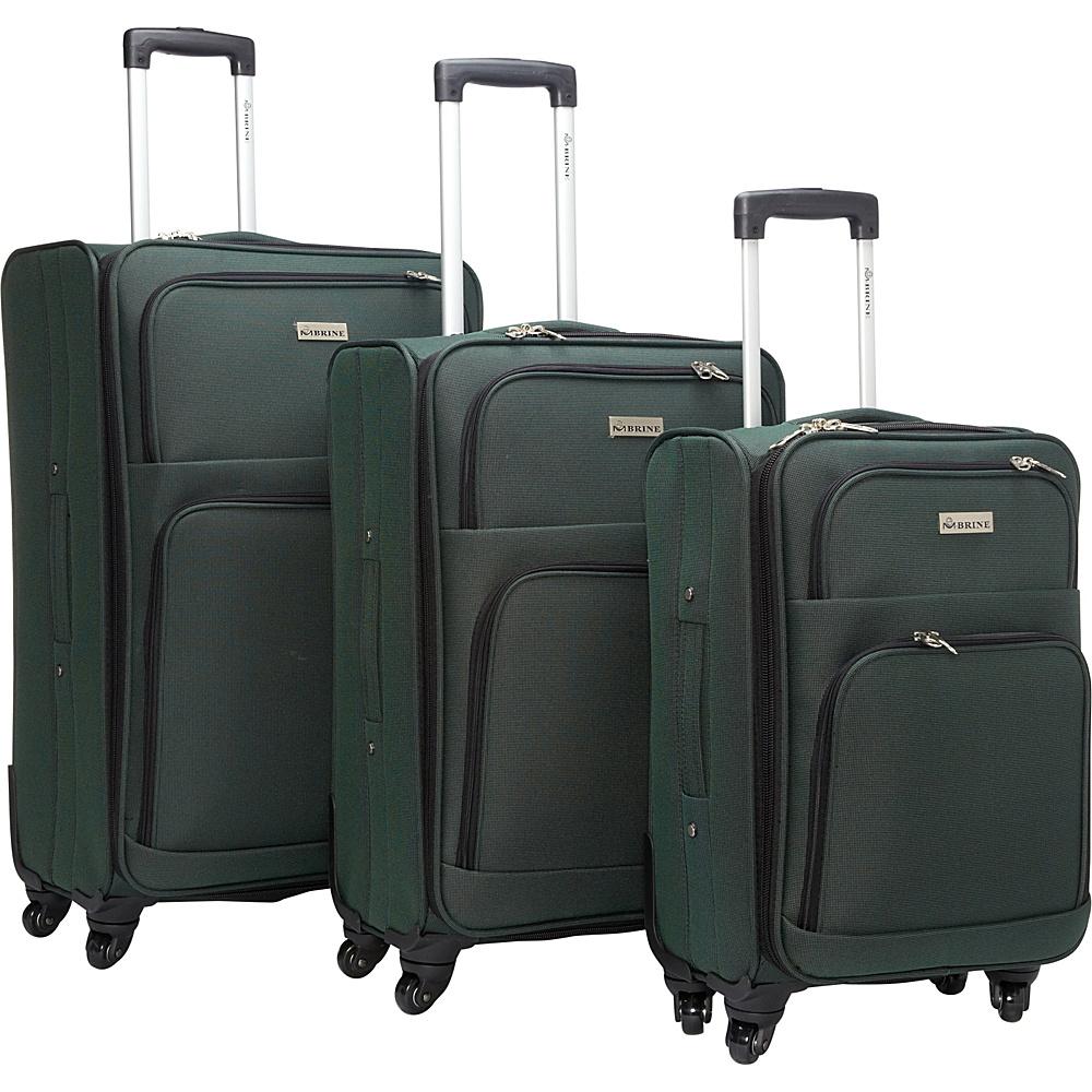 McBrine Luggage Eco Friendly 3 Piece Luggage Spinner Set Two Tone Green - McBrine Luggage Luggage Sets