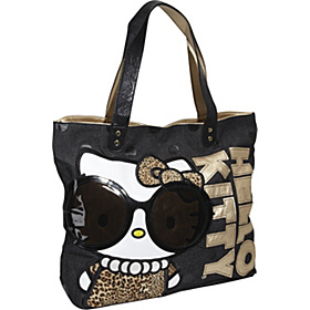 Hello Kitty Leopard with Glasses Tote Black/Gold