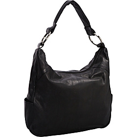 Leather Top Zip Hobo BLACK