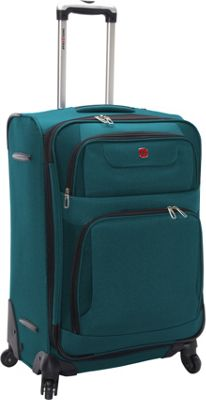 SwissGear Travel Gear 24 inch Expandable Spinner Teal with Black - SwissGear Travel Gear Softside Checked