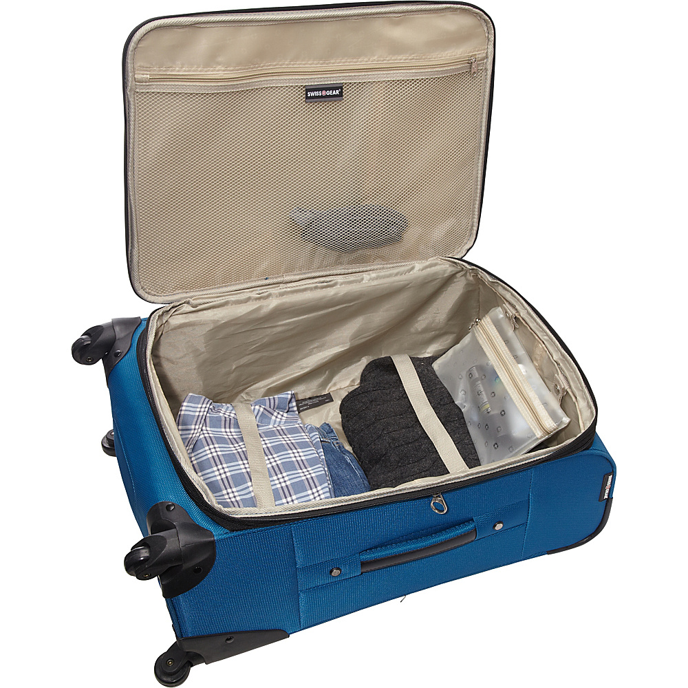 "SwissGear Travel Gear 24"" Expandable Spinner Blue with Black - SwissGear Travel Gear Softside Checked"