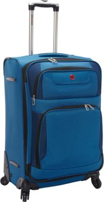 SwissGear Travel Gear 24 inch Expandable Spinner Blue with Black - SwissGear Travel Gear Softside Checked