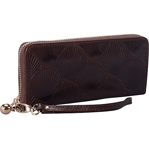 sw global emboss exclusive women's genuine leather wallet bi-fold in shell pattern design coffee - sw global leather handbags