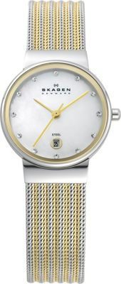 Skagen Silver and Gold Tone Mesh Watch Silver with Gold - Skagen Watches