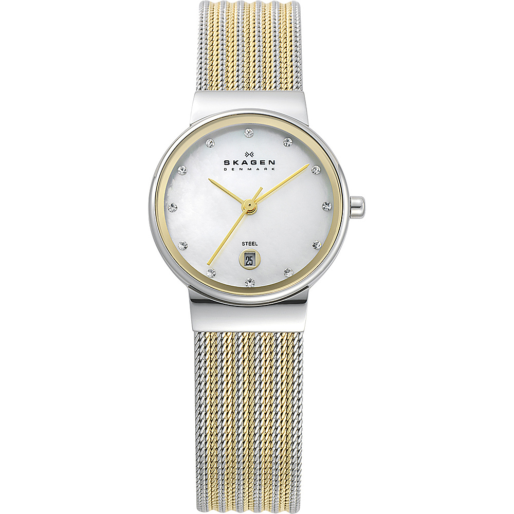 Skagen Silver and Gold Tone Mesh Watch Silver with Gold Skagen Watches