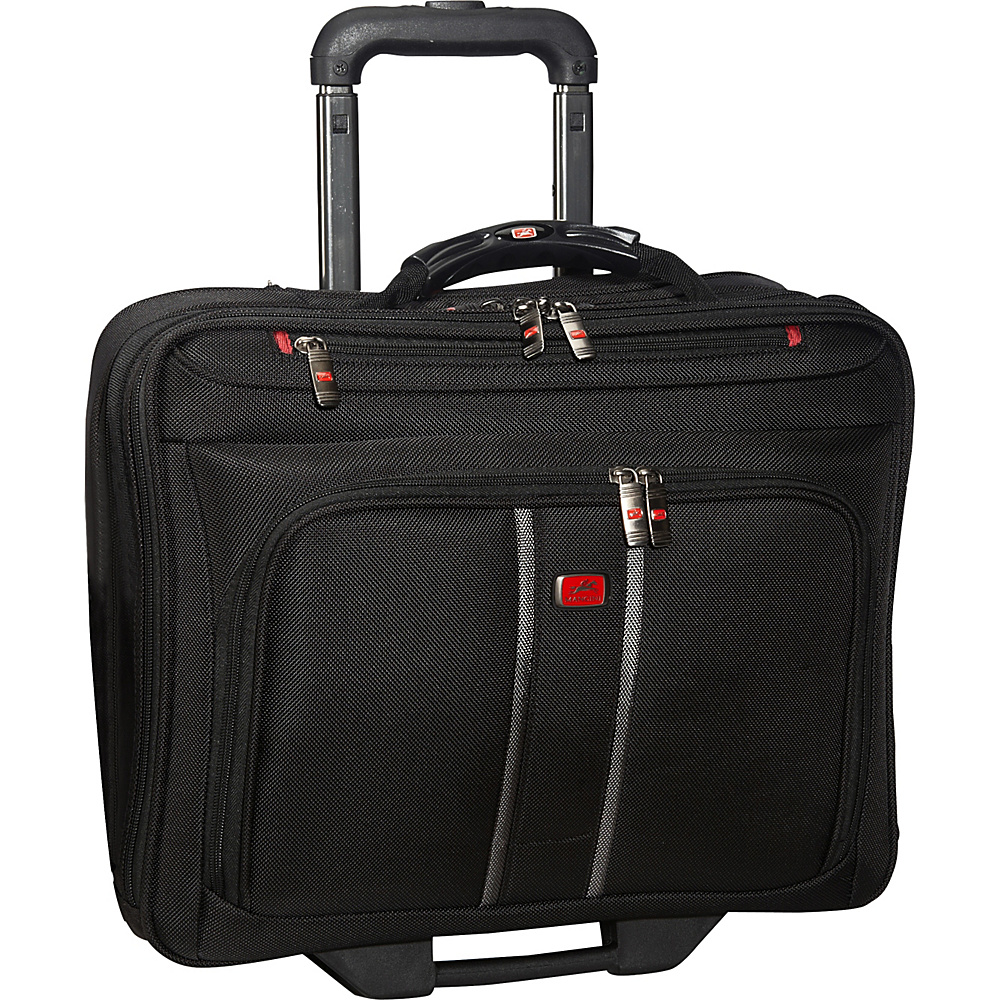 Mancini Leather Goods CompuRoller-Double Compartment Wheeled Laptop Briefcase Black - Mancini Leather Goods Wheeled Business Cases