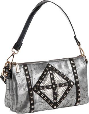 Nicole Lee Joanne Metallic Geometrics Shoulder Bag Black - Nicole Lee Manmade Handbags