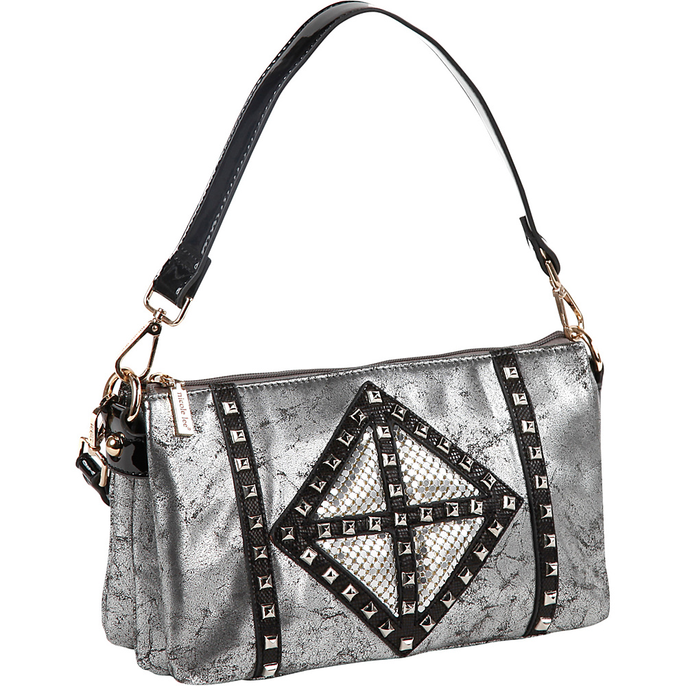 Nicole Lee Joanne Metallic Geometrics Shoulder Bag Black Nicole Lee Manmade Handbags