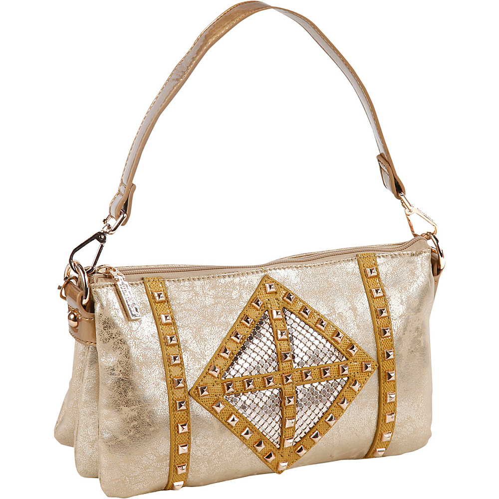 Nicole Lee Joanne Metallic Geometrics Shoulder Bag Gold Nicole Lee Manmade Handbags