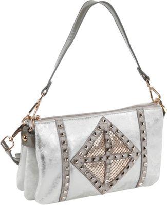 Nicole Lee Joanne Metallic Geometrics Shoulder Bag Silver - Nicole Lee Manmade Handbags
