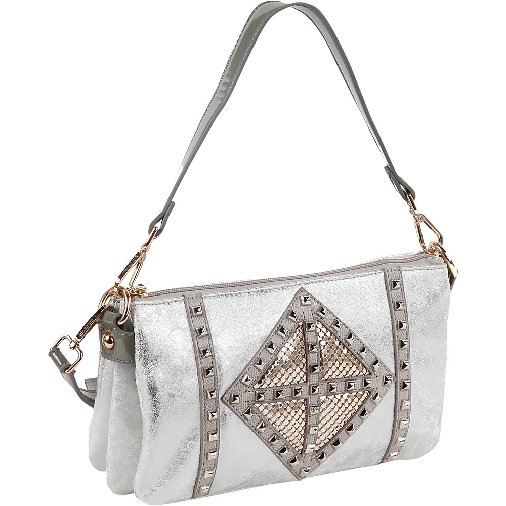 Nicole Lee Joanne Metallic Geometrics Shoulder Bag Silver Nicole Lee Manmade Handbags