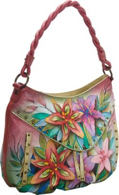 Anuschka Ruched Multi-Pocket Hobo Luscious Lilies - Anuschka Leather Handbags