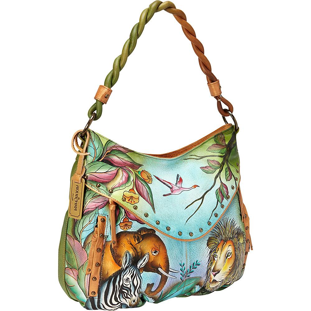 Anuschka Ruched Multi-Pocket Hobo African Adventure - Anuschka Leather Handbags
