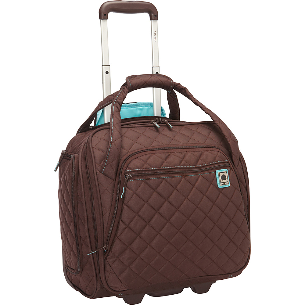 Delsey Quilted Rolling UnderSeat Tote- EXCLUSIVE Brown - Delsey Small Rolling Luggage