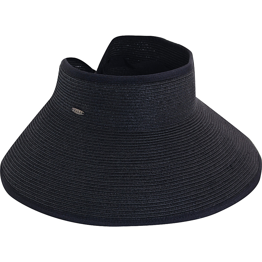 Scala Hats Packable TT Paper Braid Visor BLACK - Scala Hats Hats
